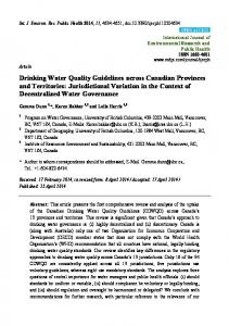 Drinking Water Quality Guidelines across