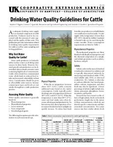 Drinking Water Quality Guidelines for Cattle - University of Kentucky ...