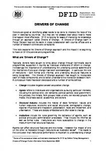 drivers of change - GSDRC