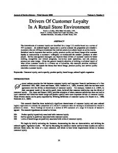 Drivers Of Customer Loyalty In A Retail Store Environment