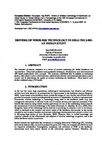 DRIVERS OF WIRELESS TECHNOLOGY IN HEALTHCARE: AN ...