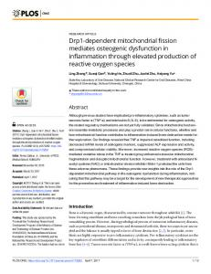Drp1-dependent mitochondrial fission mediates osteogenic ... - Plos