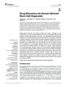 Drug Discovery via Human-Derived Stem Cell