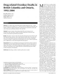 Drug-related Overdose Deaths in British Columbia and Ontario, 1992 ...