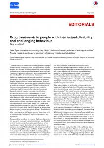 Drug treatments in people with intellectual disability and ... - The BMJ