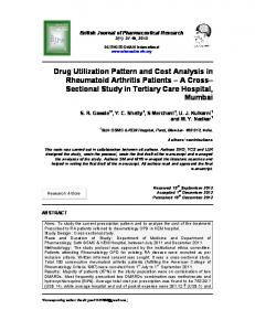 Drug Utilization Pattern and Cost Analysis in ...
