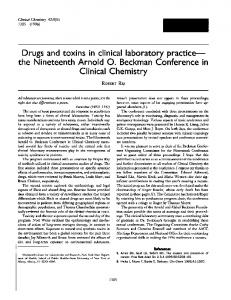 Drugs and toxins in clinical laboratory practice the ... - Clinical Chemistry