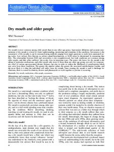 Dry mouth and older people - Wiley Online Library