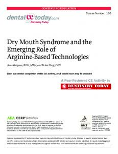 Dry Mouth Syndrome and the Emerging Role of ... - dentalCEtoday.com
