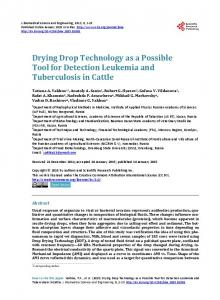 Drying Drop Technology as a Possible Tool for Detection Leukemia ...