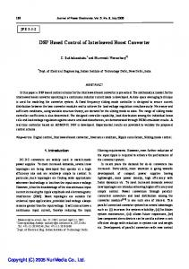 DSP Based Control of Interleaved Boost Converter - Journal of Power ...