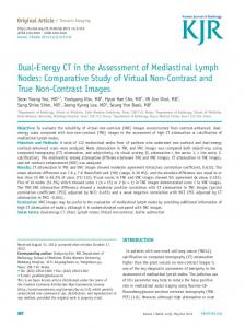 Dual-Energy CT in the Assessment of Mediastinal Lymph Nodes ...