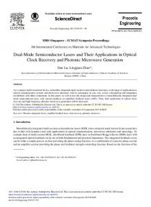 Dual-Mode Semiconductor Lasers and Their ... - ScienceDirect