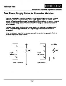 Dual Power Supply Notes for Character Modules