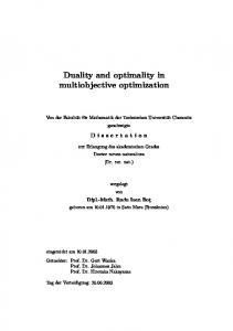 Duality and optimality in multiobjective optimization - Qucosa