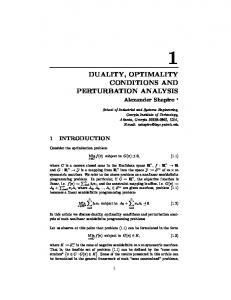 duality, optimality conditions and perturbation ... - Semantic Scholar