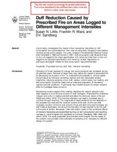 Duff Reduction Caused by Prescribed Fire on Areas Logged to ...