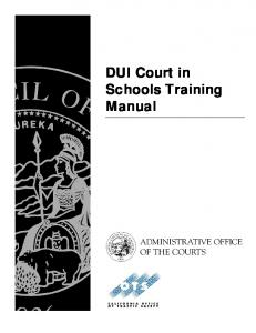 DUI Court in Schools Training Manual