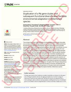 Duplication of a Pks gene cluster and subsequent functional ... - PLOS