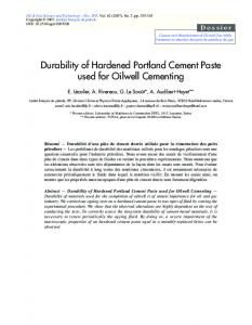 Durability of Hardened Portland Cement Paste ... - Hydro Relief Web