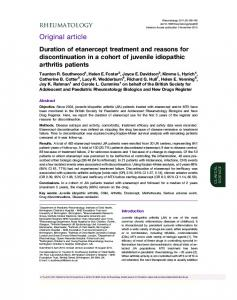 Duration of etanercept treatment and reasons for discontinuation in a ...