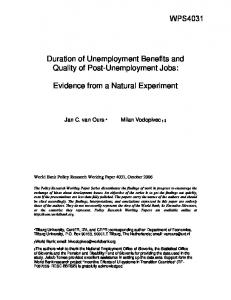 Duration of Unemployment Benefits and Quality of ... - Papers.ssrn.com