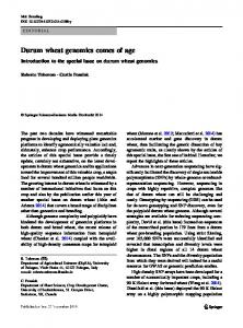 Durum wheat genomics comes of age