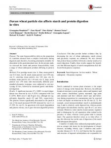 Durum wheat particle size affects starch and protein ... - Springer Link