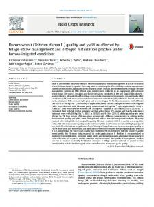 Durum wheat (Triticum durum L.) quality and yield as affected by ...