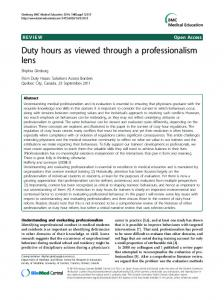 Duty hours as viewed through a professionalism lens   SpringerLink