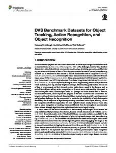 DVS Benchmark Datasets for Object Tracking ... - Semantic Scholar