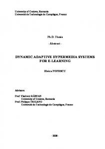 DYNAMIC ADAPTIVE HYPERMEDIA SYSTEMS FOR E-LEARNING