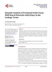 Dynamic Analysis of Fractional-Order Fuzzy BAM Neural Networks ...