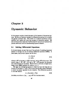 Dynamic Behavior - Control and Dynamical Systems