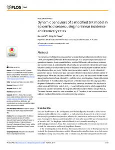 Dynamic behaviors of a modified SIR model in epidemic diseases ...