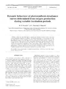Dynamic behaviour of photosynthesis-irradiance ... - Inter Research