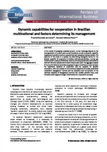 Dynamic capabilities for cooperation in Brazilian ...
