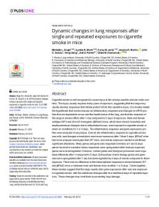 Dynamic changes in lung responses after single and repeated ... - PLOS