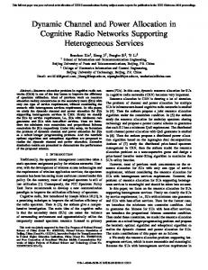 Dynamic Channel and Power Allocation in Cognitive Radio Networks ...