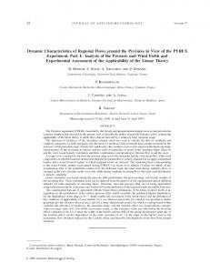 Dynamic Characteristics of Regional Flows around the ... - AMS Journals