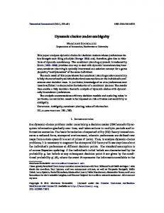 Dynamic choice under ambiguity - Wiley Online Library