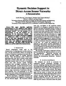 Dynamic Decision Support in Direct-Access Sensor Networks - MPC