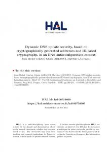 Dynamic DNS update security, based on ...