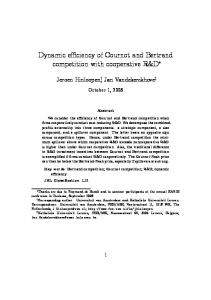 Dynamic efficiency of Cournot and Bertrand ... - Editorial Express