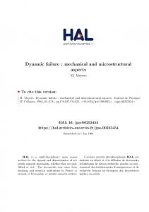 Dynamic failure : mechanical and microstructural aspects - Hal