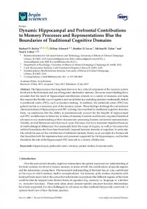 Dynamic Hippocampal and Prefrontal Contributions to Memory ... - MDPI