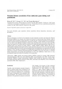 Dynamic histone acetylation of late embryonic genes ... - Springer Link