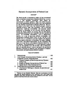 Dynamic Incorporation of Federal Law - Moritz College of Law