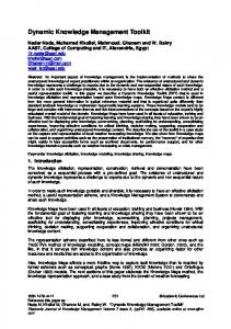 Dynamic Knowledge Management Toolkit - Electronic Journal of ...