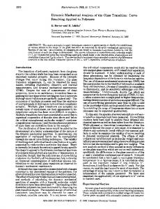 Dynamic Mechanical Analysis of the Glass Transition - American ...